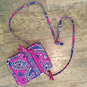 Pink and Blue Vera Bradley Crossbody Mini Hipster